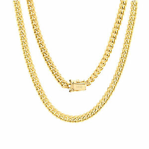 """14K Yellow Gold Solid 5mm Miami Cuban Link Chain Pendant Necklace Box Clasp 18"""""""