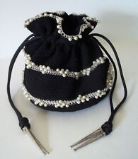 Vintage mid century womens purse bag black woven with pearls, FABULOUS 1950's!