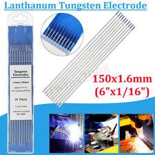 """10Pcs TIG Soudage Electrodes en Tungstène 2% Lanthané 1/16""""x 6"""" Bleu WL20"""
