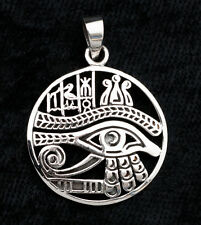 Colgante Ronda Ojo d' Horus Y Símbolos Plata 925-6.5g-bijoux Egipto -W7 9974