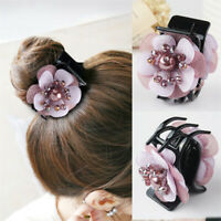 Women Crystal Flower Hair Claws Clips Snap Barrette Bobby Pin Hair Accessories