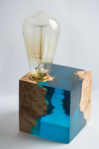 "Big blue Epoxy resin lamp with two rare birch woodknob ""Blue ocean"""