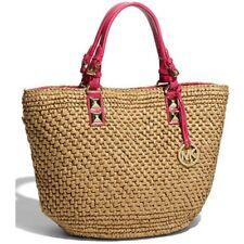 New Michael kor Santorini Basket straw tote pink leather trim shoulder bag $298