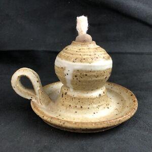 🟢 Magnum Pottery Weaverville NC Folk Art OIL LAMP Signed