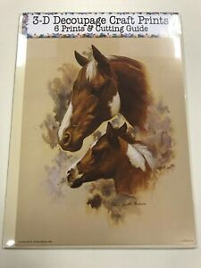'Brown and White Horse & Foal' Set of 6 Prints and Cutting Guide for Decoupage
