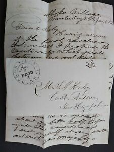 New Hampshire: Shaker Village 1854 Stampless Cover + Letter, Nice PAID 3 in CDS