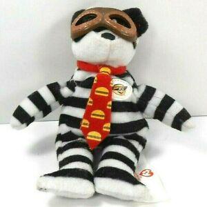 McDonald's Plush Burgler Ty Bear Black/White Striped w/Goggles & Burger Tie 2004