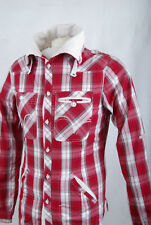 L283/63 Mish Mash Red Check Cotton Casual Pockets Shirt with High Neck , size S