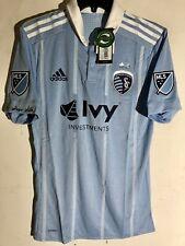 Adidas Authentic MLS Kansas City Sporting Team Alt Jersey Blue/White sz S
