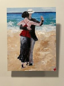 art work , Dancers At The Beach, Tango ,Signed By Artist, Mixed Media