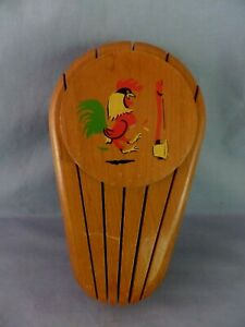 Vintage wooden ROOSTER KNIFE HOLDER 5 slot Hangs on Wall