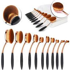 10Pcs PRO Elite Toothbrush Oval Make up Brushes Set Powder Foundation Contour