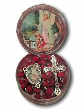 GUARDIAN ANGEL ON BRIDGE Rosary Matching CENTER Case Rose Scented Beads  Italy