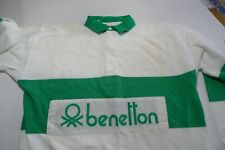 80'S VINTAGE -BENETTON  RUGBY SHIRT- COTTON- PRINTED LOGO- MADE IN ITALY-  XL