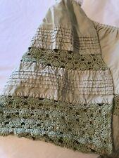 Ll Bean Full-Size Bed Skirt Heirloom Crochet Sage Green Euc