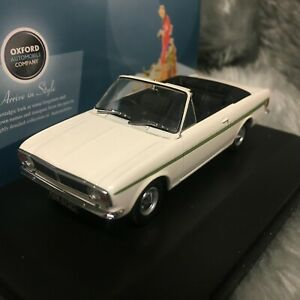 NEW Oxford Diecast 1:43 Ford Cortina Mk2 Crayford Convertible Ermine White/Green