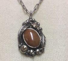Vintage Sterling Silver Pendant Necklace Jack Hamilton Hawaii Cabochon Center