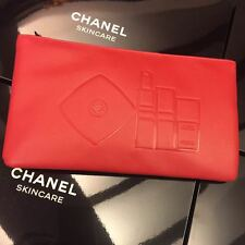 CHANEL BEAUTE Red Makeup Cosmetic Bag Pouch * New in Box