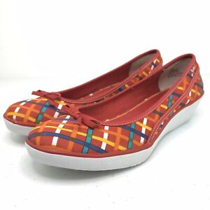 Keds Wedges Shoes Women's Size 8.5 Multicolor Red Bow Slip On