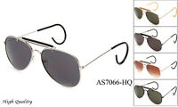Timeless Classic Aviator Sunglasses With Brow Bar Cable Wire Wrap Ears UV 100%