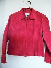 Coldwater Creek Suede Leather Burgundy Red Jacket Zip Front Fully Lined Sz PL
