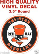 Vintage Tri Star Red Hat Gasoline Motor Oil Gas Pump Decal - The Best