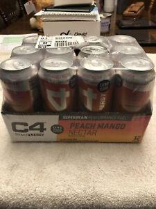 Cellucor C4 Smart Energy SuperBrain Performance Fuel 16 oz, 12 Cans PEACH MANGO