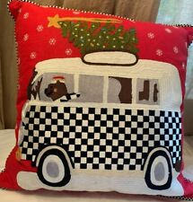Mackenzie Childs Van With Dog And Christmas Tree  Courtly Check Sequins Pillow