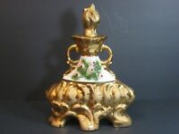 "VTG 1972 James Beam Liquor Bottle Decanter 11"" Regal China Gold Floral Inset EUC"