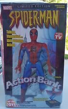 "NEW! MARVEL SPIDER-MAN ACTION BANK 11"" TALL, TALKS, LIGHTS UP,  MOVES W/ COIN IN"