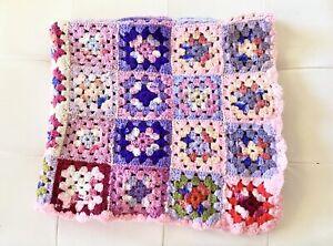 Granny Squares Afghan Blanket Colorful Pastel Hand Crochet 38 X 36 Vintage