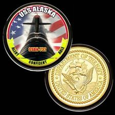 U.S. United States Navy | USS Alaska SSBN-732 | Gold Plated Challenge Coin