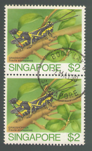 Singapore. 462. $2. Grasshopper. Insects. Twin of 2. Used. 1988 -21