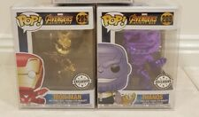 AVENGERS INFINITY WAR- THANOS + IRON MAN 2 CHROME EXCLUSIVE FUNKO POP VINYL Rare