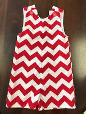 Lolly Wolly Doodle Baby boy 6-9 mo Chevron Red One-Piece Romper Overalls New