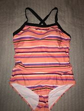 Size 16 Orange Striped Black Crossover Strap One Piece Swimsuit Swimmers