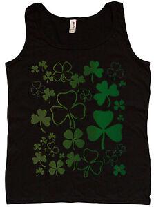 Ladies tank top Lucky Shamrocks st patricks day design womens tee black tshirt