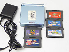 Not for Resale: Nintendo Game Boy Advance SP Pearl Blue AGS-101 System+Games!