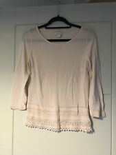 Monsoon Light Pink Crochet Detail 3/4 Sleeve Fitted Jumper Sz 10