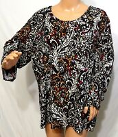 N Touch Women Plus Size 1x 2x 3x Black Red Amber Gray Paisley Tunic Top Blouse