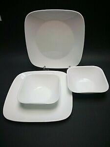 CORELLE Vitrelle~(2) Square White Dinner Plates~(2) Square Salad Soup Bowls~NEW