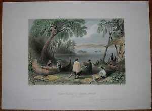 1841 Bartlett print CANADA: CANOE BUILDING AT PAPPER'S ISLAND, OTTAWA RIVER (#4)