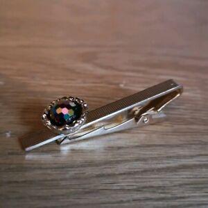 Vintage Stratton Multicoloured Magic Stone Gold Tone Scarf Tie Clip Clasp