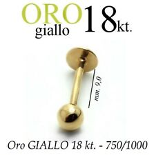 Piercing body TRAGO 9mm CORPO LABRET LABBRO in ORO GIALLO 18kt. white GOLD