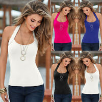 Womens Summer Plain Tank Tops Ladies Sexy Halter Neck Backless Strappy Cami Vest