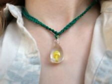 GREEN HEMP Yellow Glass Mushroom Pendant  Necklace SHROOM Handmade Jewelry Charm