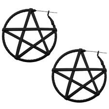 Pentagram hoop earrings body piercing jewelry plug tunnel 20g  gothic witch w124