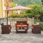 4pc Furniture Patio Outdoor Wicker Rattan Conversation Sofa Chairs Set Garden