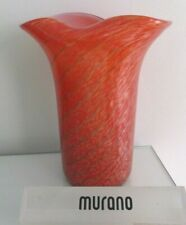 Fratelli Toso Murano Red Spiral Aventurine Glass Vase, 1960's