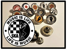 SKA - MUSIC IS LIFE - ROUND BUTTERFLY PIN BACK SILVER METAL LAPEL BADGE / GIFTS